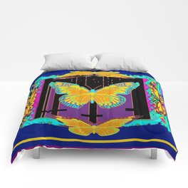SURREAL BLUE ART YELLOW BUTTERFLY ABSTRACT ART Comforters