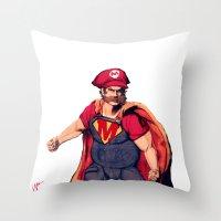 super mario Throw Pillows featuring Super Mario by Mastodon