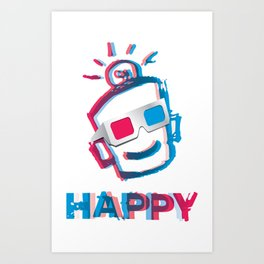 3D HAPPY Art Print