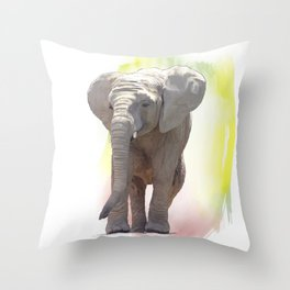 Digital Painting of Baby Elephant Throw Pillow
