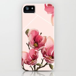 Pink Magnolia Blossoms iPhone Case