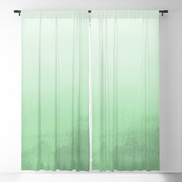 Pastel Melon Green Watercolor Ombre Gradient Blend Pairs to 2020 Color of the Year Neo Mint Blackout Curtain