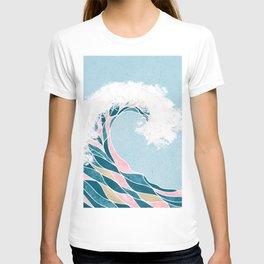 Surf X // Cali Beach Summer Surfing Rip Curl Gold Pink Aqua Abstract Ocean Wave T-shirt