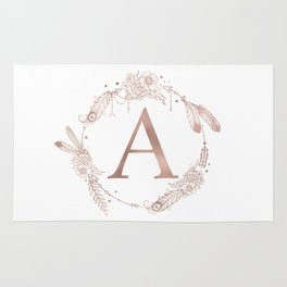 Letter A Rose Gold Pink Initial Monogram Rug