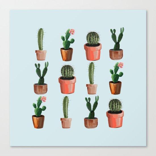 Various Cacti Light Blue Canvas Print