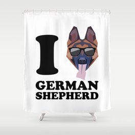 I Love German Shepherd modern v1 Shower Curtain