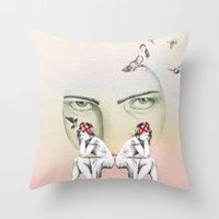 cinderella Throw Pillows featuring Cinderella by Kayleigh Day