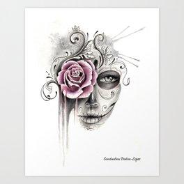 Rose Sugar Skull Art Print