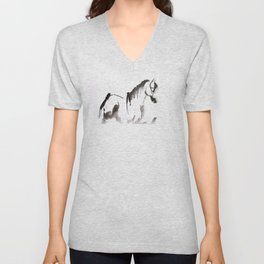 Watercolor Horse Painting Unisex V-Neck
