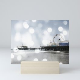 Sparkling grey Santa Monica Pier Mini Art Print