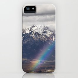 Rainbow and mountains after the storm iPhone Case