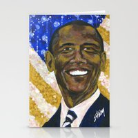 obama Stationery Cards featuring Obama by Stan Kwong