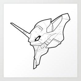 Eva Unit 01 - Skeletal Black and White Art Print