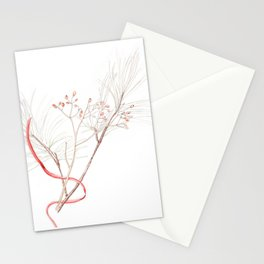 Winter Branches (white pine and rose hips) in Watercolor Stationery Cards