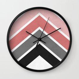 Pink and gray bands Wall Clock