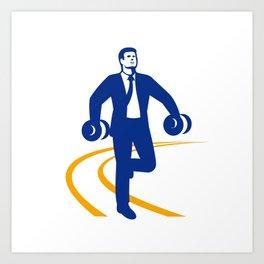 Businessman Power Walking Dumbbells Retro Art Print