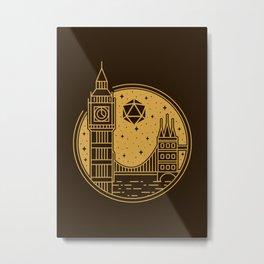 Big Ben United Kingdom Night D20 Dice Moon Minimalist Tabletop RPG Metal Print