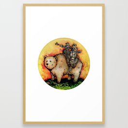 Bear-Mounted Raccoon Patrol Framed Art Print