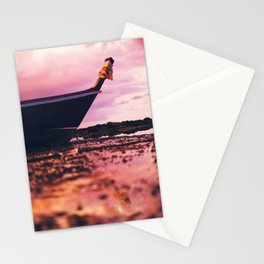 Thai longtail boat on the beach Stationery Cards