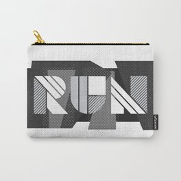 Run Geometric Typography - Black and White Carry-All Pouch