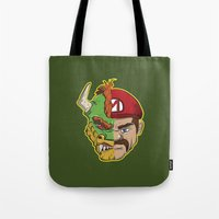 mario kart Tote Bags featuring Mario Chimera by The Cracked Dispensary
