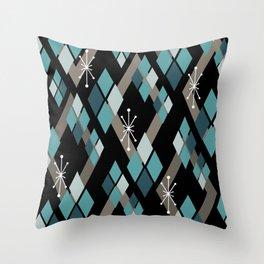 Mid Century Modern Diamonds (Black) Throw Pillow