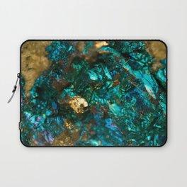Teal Oil Slick and Gold Quartz Laptop Sleeve