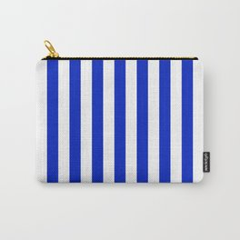 Cobalt Blue and White Vertical Beach Hut Stripe Carry-All Pouch