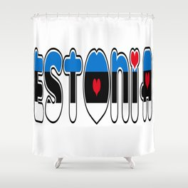 Estonia Font with Estonian Flag Shower Curtain