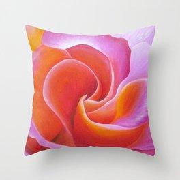 Pink and Orange Rose Throw Pillow