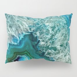 Aqua turquoise agate mineral gem stone - Beautiful Backdrop Pillow Sham