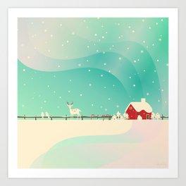 Peaceful Snowy Christmas (Teal) Art Print