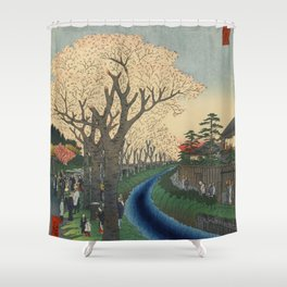 Spring Cherry Trees Blossoms Ukiyo-e Japanese Art Shower Curtain