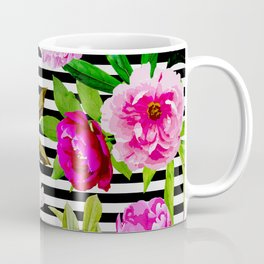 Pink & Magenta-Red Floral Pattern On Striped Background Coffee Mug