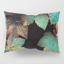 Copper And Teal Leaves Pillow Sham