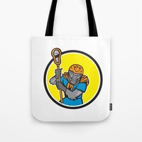 lacrosse Tote Bags featuring Gorilla Lacrosse Player Circle Cartoon by patrimonio