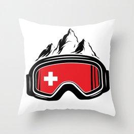 Skiing Switzerland   Snowboard Ski Alps Gifts Throw Pillow