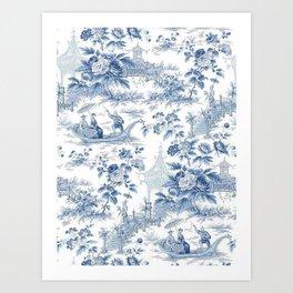 Powder Blue Chinoiserie Toile Art Print