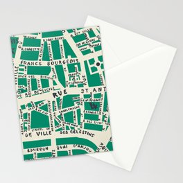 PARIS MAP GREEN Stationery Cards
