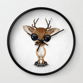 Cute Curious Baby Deer Calf with Big Eyes Wall Clock
