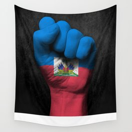 Haitian Flag on a Raised Clenched Fist Wall Tapestry