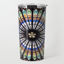 Stained glass cathedral rosette Travel Mug