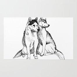 Siberian Husky Pair Rug