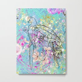 Two Parrots with Frangipani Metal Print