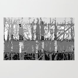 Tropical Abstract Trees in Steely Gray Rug