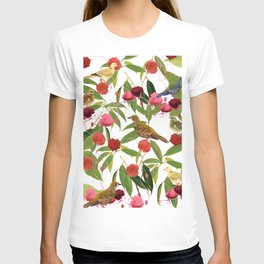 Birds in the red flowers shrub T-shirt