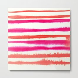 Orange & Pink Watercolor Stripes Metal Print