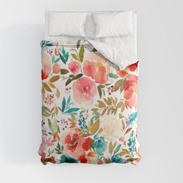 Red Turquoise Teal Floral Watercolor Comforters