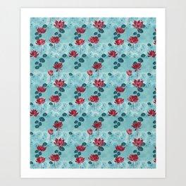 Pure zen waterlily pattern Art Print