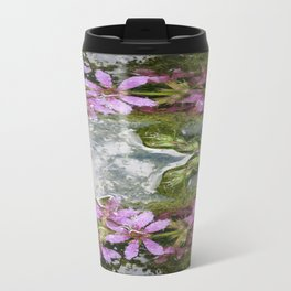 Flowers and reflections in water Metal Travel Mug